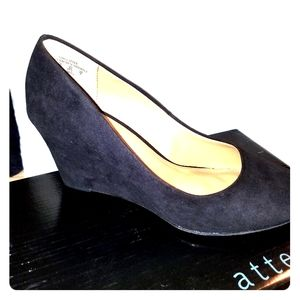 NWT Attention Women's Black Harley Wedge Sz 8.5